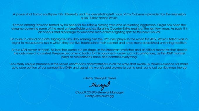 Cloud9 manager HenryG's official statement on signing woxic