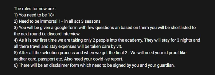 Rules for becoming a candidate of VLT Academy