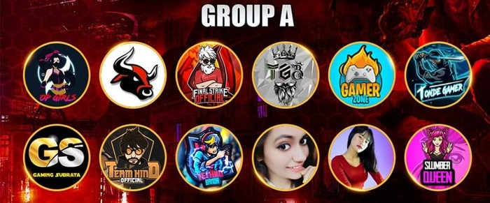 Total Gaming Free Fire Tournament group A teams