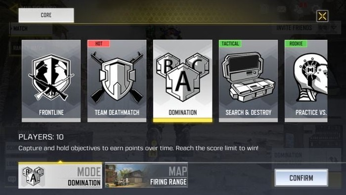 game modes on