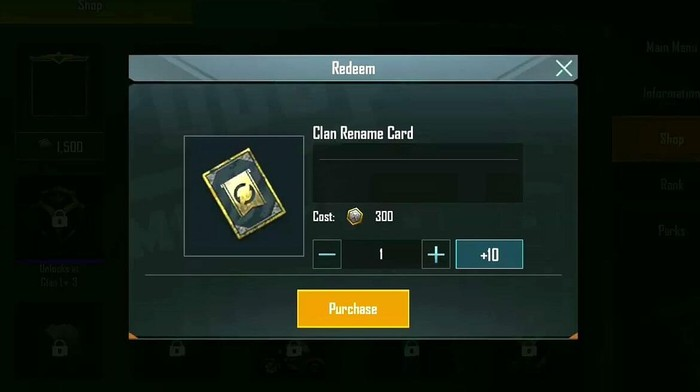 clan rename card bgmi how to rename clan in bgmi