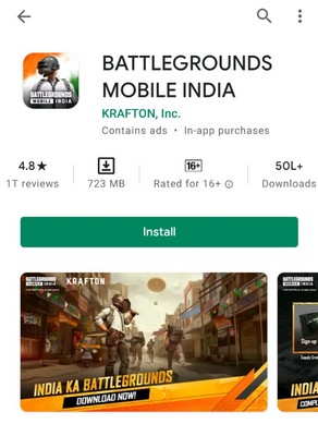 BGMI on play store on
